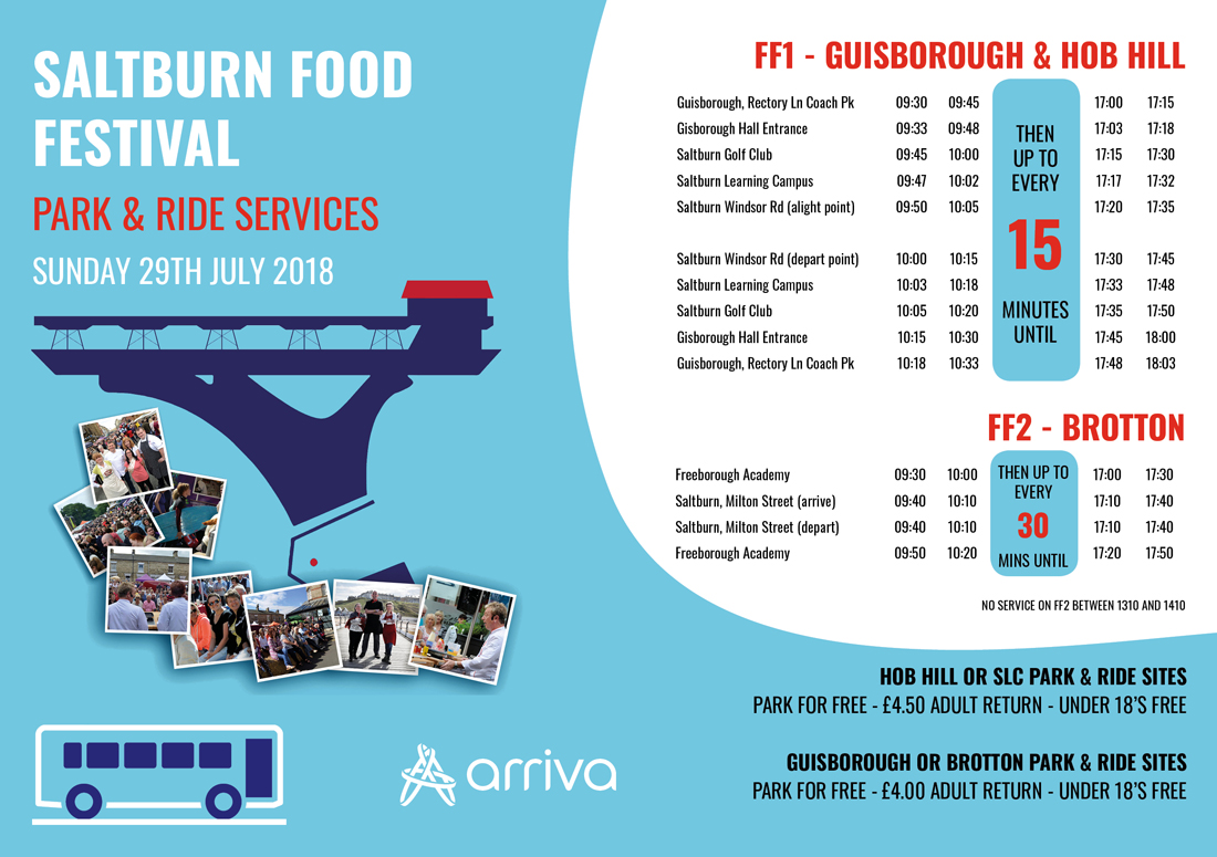 Park and ride times saltburn food festival 2018